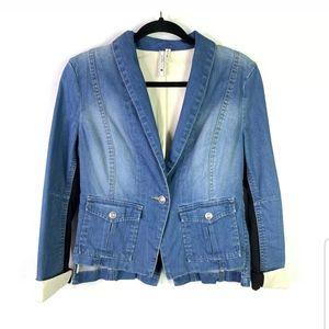 BCBG Maxazria Sz S Denim Tuxedo Blazer Jacket